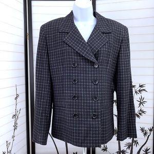 Jones New York Blazer Sz 14 Windowpane Plaid Wool